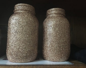 Antique gold glitter mason jar vase