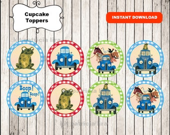 Little Blue Truck toppers instant download , Little Blue Truck cupcakes toppers labels, Printable Little Blue Truck party toppers