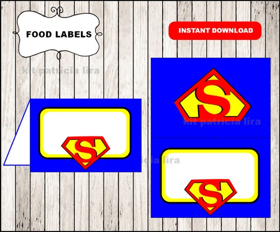 Superman logo food labels instant download  Superman food tent cards Printable Superman food table labels  sc 1 st  Etsy & Superman logo food labels instant download Superman food