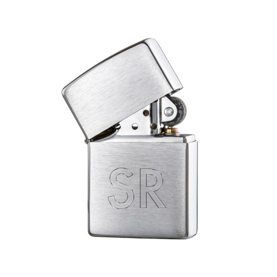 Original Zippo Lighter - Beautifully Engraved - Personalised With Initials - Chrome Brushed Lighter - Gifts for Men