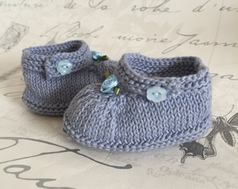 Sale Item - Baby Booties, Cotton Booties, Baby Boy Baby Girl Booties, Baby Gift, Blue Baby Shoes, 0-4 months, Baby Shower, Knitted Shoes