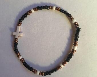 Beaded Brown/Black Cross Bracelet