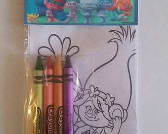 30 Sets of the Trolls Birthday Party Favors Coloring Pages and Crayon Sets