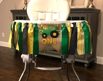 Yellow and Green Tractor High Chair Birthday Banner