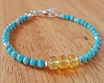 Genuine Turquoise Bracelet, 4mm Sleeping Beauty, Mexican Amber Bracelet, Chakra Bracelet, Beaded Bracelet, Healing Jewerly, Metaphysical