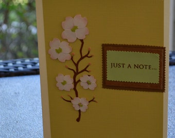 Just a Note, Blank note card, Thinking of You, Just Because, Floral card, Friendship