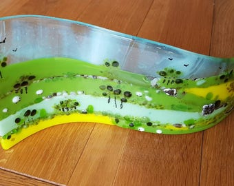 Glass art wave, Countryside scene, Cotswolds glass wave, glass picture, fields, Spring lambs, fields of gold, British countryside, handmade