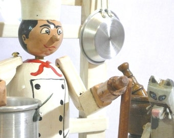 Personalised Chef with cat. Wooden cook. Wooden toys. Wooden automata. Automaton. Collecting and play. Kinetic art. Moving sculpture. SOLD