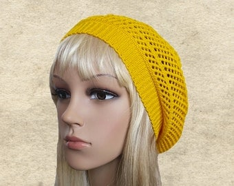 Summer cotton beret, Yellow knitted hat, Spring womens beret, Women's knit beret, Organic cotton hat, Lightweight beret, Light sun beret