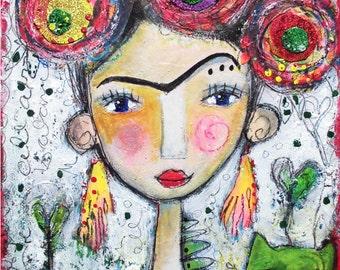 Frida Kahlo 37 - original paintings, mixed media portrait, acrylic painting, mixed media
