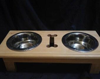 Wooden Dog food stand, wood dog food station, elevated dog feeder, raised dog feeding station, dog feeder, dog food bowl stand, dog gift