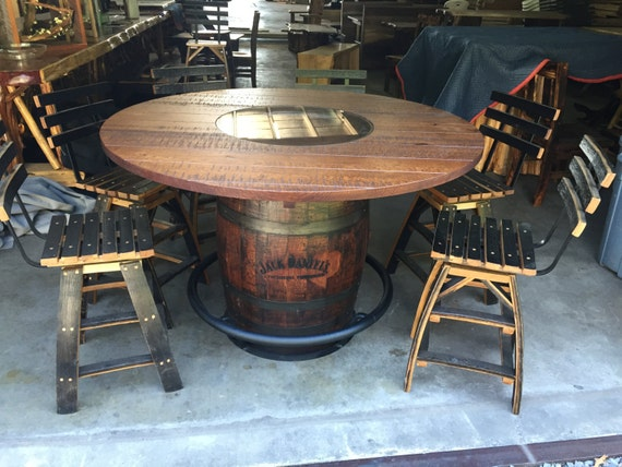 Items Similar To Whiskey Barrel Table And 6 Stools On Etsy