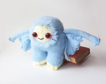 Fluffy Baby Blue Mothman Cryptid Monster Plush