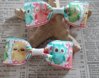 Owl Hair Bows, girls hair bows, cute hair, owl party favors, kawaii, baby shower, party favors, loot bag
