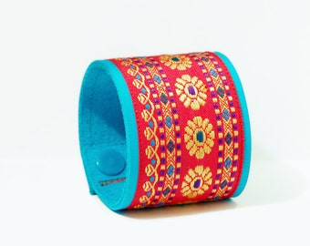 Great bracelet, leather, turquoise/red, handmade