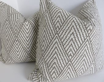 Tahitian Stitch Taupe Pillow Covers- Taupe Beige Lacefield Design Pillow Covers- Taupe Chevron Pillow Covers- Zig Zag Pillow Covers- 18x18