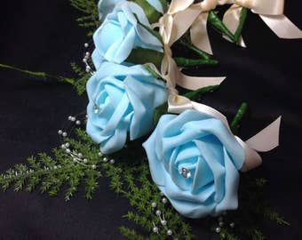 Elegant artificial rose buttonhole