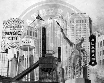 "16""x20"" Canvas Print of the Landmarks of Birmingham, Alabama | Vulcan | Sloss Furnace | Alabama Theater | Electra"