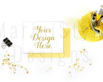Stationery Mockup, Card Mockup, 4.25 x 5.5 or A2 Greeting Card, Blank Card, A6, Gold Styled Stock Photography, Stock Photo, Stock image, 323