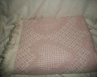 Vintage Shabby Chic Pink, Ivory Woven Cotton Textured Throw Blanket, Coverlet