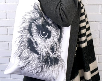 Owl Tote Bag, lightweight tote bag, canvas bag, black and white,