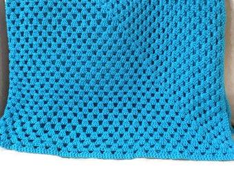 Crocheted Blue Blanket,handmade throw,Aqua Blanket,Handmade Blanket,Home Decor Blanket,Gift