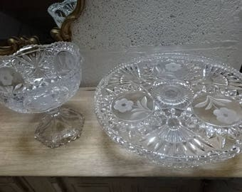 Beautiful Vintage Pressed and Etched Glass Cake Stand & Bon Bon/Sweetie Bowl