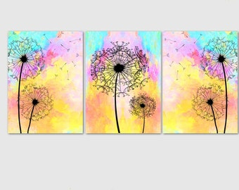 Dandelion Art Prints - Set of 3, Choose your color, Dandelion art work, Flower art, Floral Artwork, Flower Art print, Home Decor, Abstract