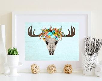 Blue Deer Skull, floral deer skull, deer with flowers, flower deer art, printable deer art, Stag skull art, Doe deer art, Doe poster