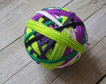 Hand Dyed Self Striping Sock Yarn ~ Joke's On You! ~ Batman Inspired, neon purple, neon green, black, white, dark purple stripes