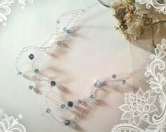 925 Silver braided necklace with Swarovski crystals