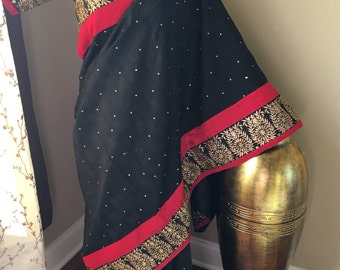 Black red fancy saree