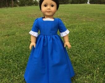 Colonial Daydress in Royal Blue for 18'' Dolls like American Girl, Felicity, Elizabeth
