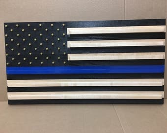 Charred blue line challenge coin flag.