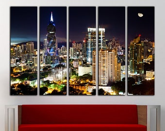 Panama wall art Panama canvas Panama wall decor Panama print Cityscape canvas Skyscraper print Urban Skyline Wall Art Large Canvas Decor