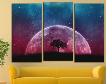 Moon Canvas Print Moon Wall Art Moon Wall Decor Universe Canvas Print Universe Print Universe Wall Art Universe Photo Universe Art