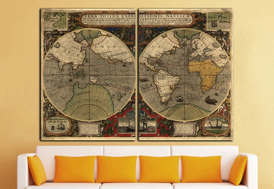 Old world map canvas print vintage map wall art world map wall for World map wall print