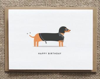 Birthday Card - Biker - Motorbike - Silly sausage - Sausage dog - Greetings card - Happy Birthday
