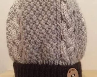 Adults Cream/Brown Fur Pom Hat