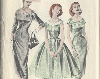 "1950s Vintage Sewing Pattern B38"" DRESS (R221)  Butterick 8058"