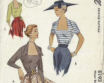 1950 Vintage Sewing Pattern B32 BLOUSE (1803) McCall 8193