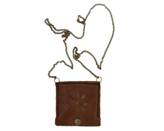 Brown leather square necklace with antique bronze chain