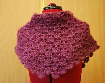 Crocheted shawl, Crocheted baktus, Lace shawl, Plum crocheted wrap, Plum baktus, Crocheted baktus