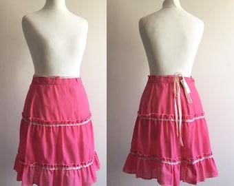 Vintage Pink Frill Skirt - UK Size 8/US Size 4