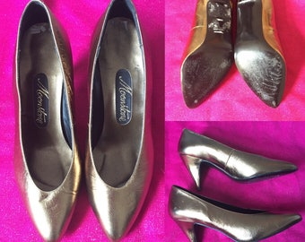 Vintage Moonstone Metallic Gold Leather Heels - UK Size 3.5/EU Size 36/US Size 6