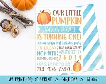 Boy Pumpkin Invitation, Pumpkin 1st Birthday Invitation, Little Pumpkin Invitation, Fall Birthday Invitation, Pumpkin First