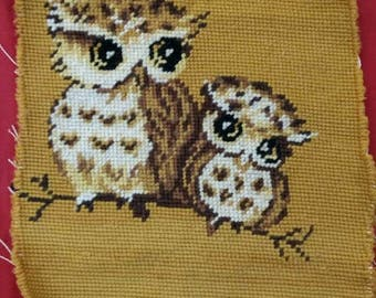 Owl needlepoint ready for framing