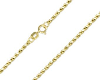 "14K Yellow Gold Hollow Diamond Cut Rope Necklace Chain 2.0mm 16-24"" - Link"