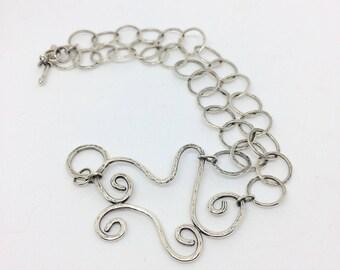 Silver heart bracelet,  hammered bracelet, one of a kind bracelet, silver heart