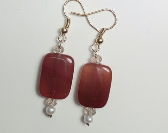 Modern earrings with agate and Crystal rectangular